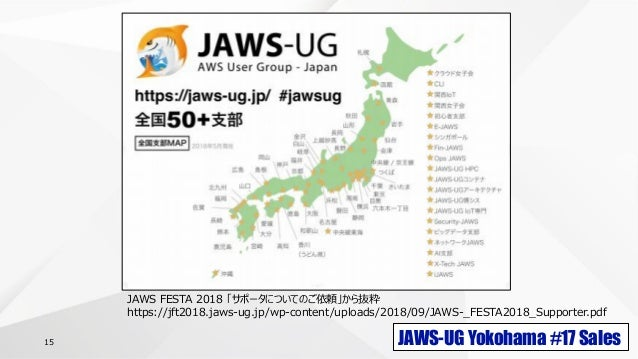JAWS-UG Yokohama #17 Sales15 JAWS FESTA 2018 「サポータについてのご依頼」から抜粋 https://jft2018.jaws-ug.jp/wp-content/uploads/2018/09/JAWS...