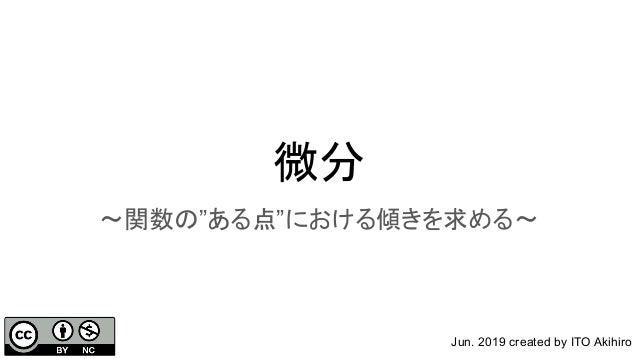 """微分 〜関数の""""ある点""""における傾きを求める〜 Jun. 2019 created by ITO Akihiro"""