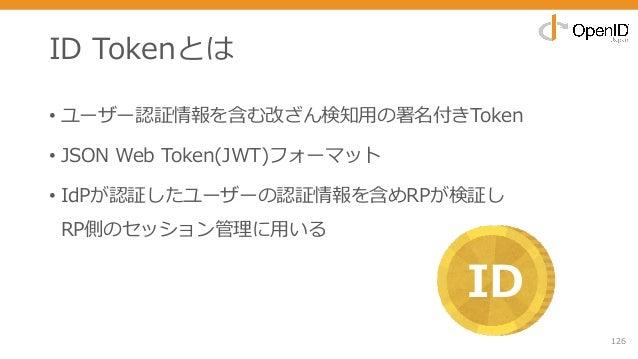 ID Tokenとは • ユーザー認証情報を含む改ざん検知⽤の署名付きToken • JSON Web Token(JWT)フォーマット • IdPが認証したユーザーの認証情報を含めRPが検証し RP側のセッション管理に⽤いる 126 ID