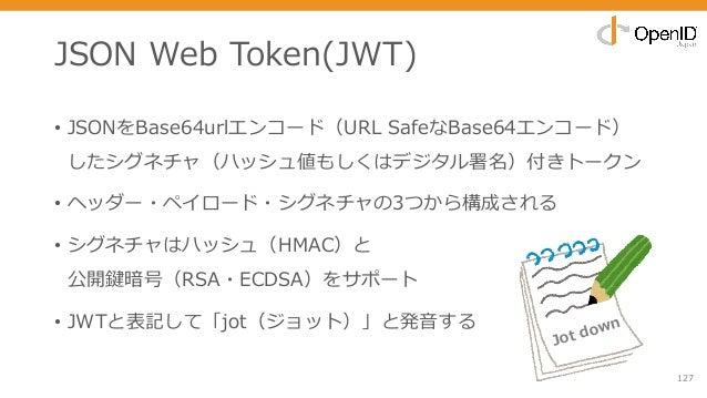 JSON Web Token(JWT) • JSONをBase64urlエンコード(URL SafeなBase64エンコード) したシグネチャ(ハッシュ値もしくはデジタル署名)付きトークン • ヘッダー・ペイロード・シグネチャの3つから構成され...