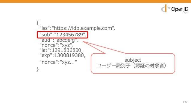 "140 { ""iss"":""https://idp.example.com"", ""sub"":""123456789"", ""aud"":""abcdefg"", ""nonce"":""xyz"", ""iat"":1291836800, ""exp"":13008193..."