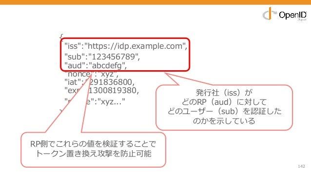 "142 { ""iss"":""https://idp.example.com"", ""sub"":""123456789"", ""aud"":""abcdefg"", ""nonce"":""xyz"", ""iat"":1291836800, ""exp"":13008193..."