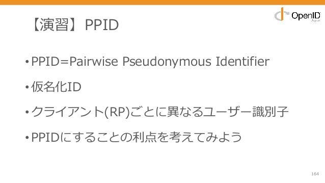 【演習】PPID •PPID=Pairwise Pseudonymous Identifier •仮名化ID •クライアント(RP)ごとに異なるユーザー識別⼦ •PPIDにすることの利点を考えてみよう 164