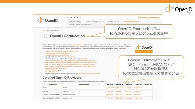 OpenID Foundationでは IdPとRPの認定プログラムを実施中 Google・Microsoft・NRI・ NEC・Yahoo! JAPANなどが IdPの認定を取得済み RPの認定製品も増えて⽣きている
