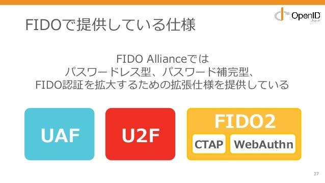 FIDOで提供している仕様 27 UAF U2F FIDO2 CTAP WebAuthn FIDO Allianceでは パスワードレス型、パスワード補完型、 FIDO認証を拡⼤するための拡張仕様を提供している