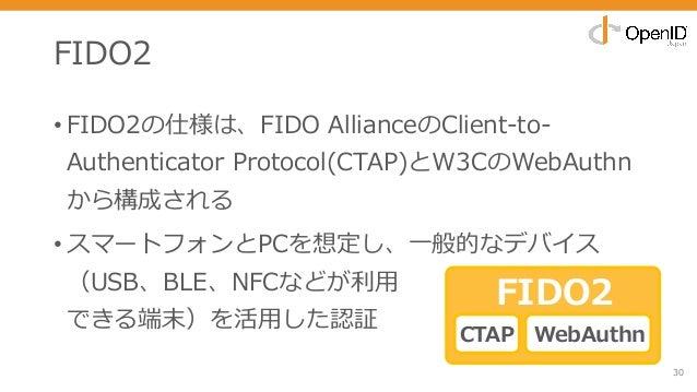 FIDO2 • FIDO2の仕様は、FIDO AllianceのClient-to- Authenticator Protocol(CTAP)とW3CのWebAuthn から構成される • スマートフォンとPCを想定し、⼀般的なデバイス (US...