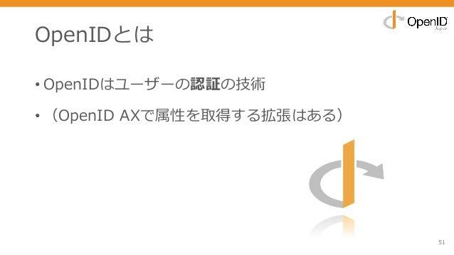 OpenIDとは • OpenIDはユーザーの認証の技術 • (OpenID AXで属性を取得する拡張はある) 51