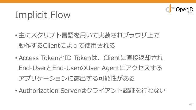 Implicit Flow • 主にスクリプト⾔語を⽤いて実装されブラウザ上で 動作するClientによって使⽤される • Access TokenとID Tokenは、Clientに直接返却され End-UserとEnd-UserのUser ...