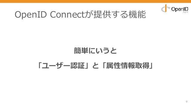 OpenID Connectが提供する機能 9 簡単にいうと 「ユーザー認証」と「属性情報取得」