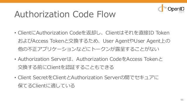 Authorization Code Flow • ClientにAuthorization Codeを返却し、Clientはそれを直接ID Token およびAccess Tokenと交換するため、User AgentやUser Agent上...