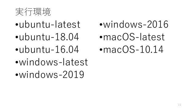 実行環境 •ubuntu-latest •ubuntu-18.04 •ubuntu-16.04 •windows-latest •windows-2019 •windows-2016 •macOS-latest •macOS-10.14 11