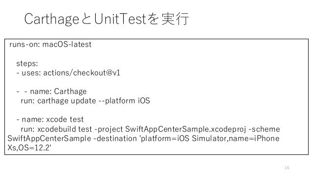 CarthageとUnitTestを実行 16 runs-on: macOS-latest steps: - uses: actions/checkout@v1 - - name: Carthage run: carthage update -...