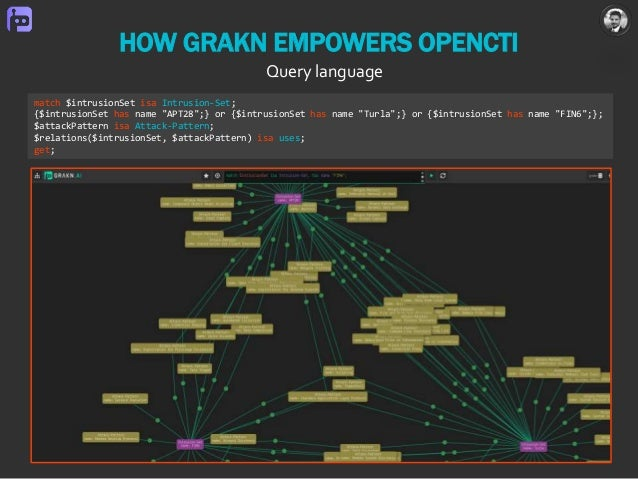 """HOW GRAKN EMPOWERS OPENCTI Query language match $intrusionSet isa Intrusion-Set; {$intrusionSet has name """"APT28"""";} or {$in..."""