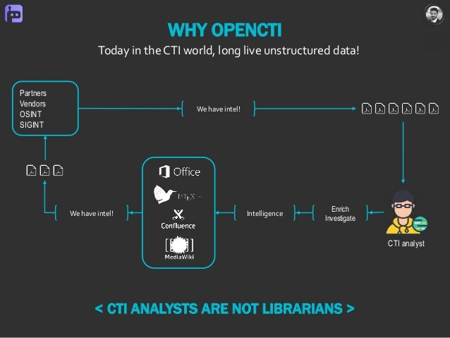 WHY OPENCTI Today in the CTI world, long live unstructured data! CTI analyst Partners Vendors OSINT SIGINT We have intel! ...