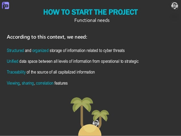 HOW TO START THE PROJECT Functional needs Structured and organized storage of information related to cyber threats Unified...