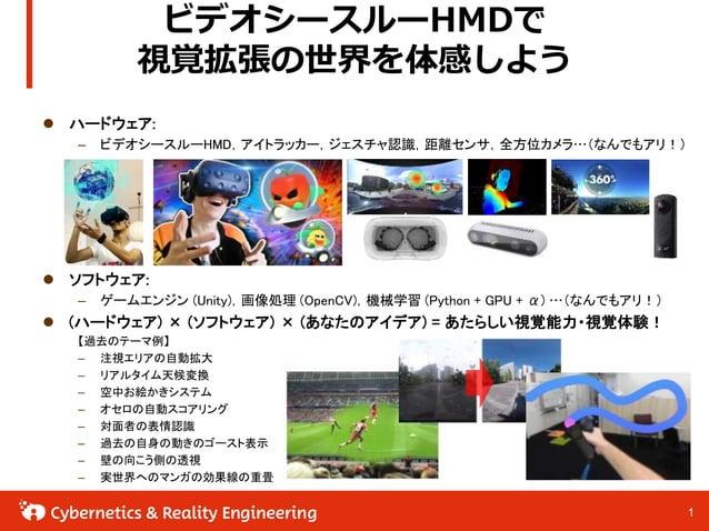 11 ビデオシースルーHMDで 視覚拡張の世界を体感しよう  ハードウェア: – ビデオシースルーHMD,アイトラッカー,ジェスチャ認識,距離センサ,全方位カメラ…(なんでもアリ!)  ソフトウェア: – ゲームエンジン (Unity),画...