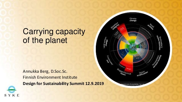 Annukka Berg, D.Soc.Sc. Finnish Environment Institute Design for Sustainability Summit 12.9.2019 Carrying capacity of the ...