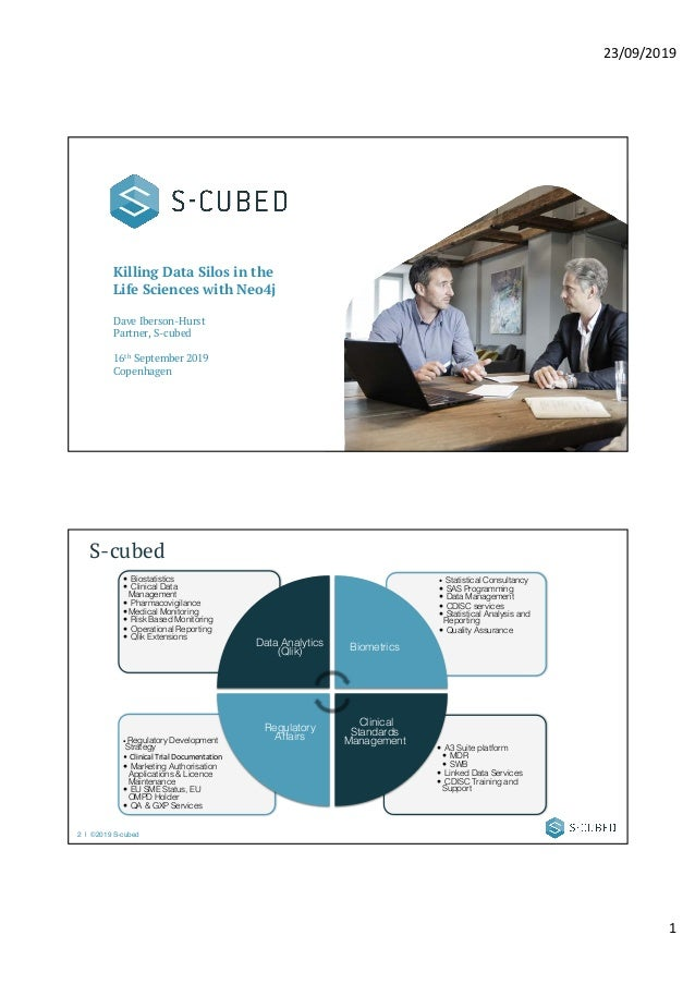 23/09/2019 1 Killing Data Silos in the Life Sciences with Neo4j Dave Iberson-Hurst Partner, S-cubed 16th September 2019 Co...