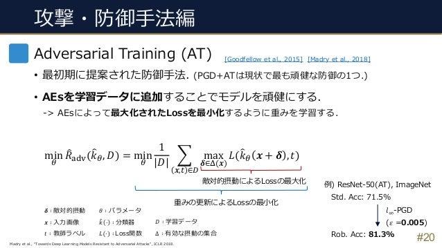 攻撃・防御⼿法編 #20 Adversarial Training (AT) • 最初期に提案された防御⼿法. (PGD+ATは現状で最も頑健な防御の1つ.) • AEsを学習データに追加することでモデルを頑健にする. -> AEsによって最⼤...