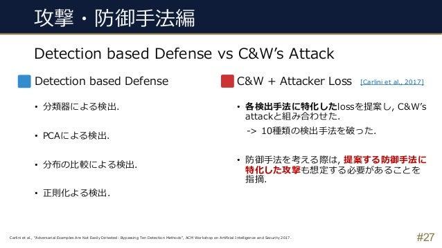#27 Detection based Defense vs C&W's Attack 攻撃・防御⼿法編 Detection based Defense • 分類器による検出. • PCAによる検出. • 分布の⽐較による検出. • 正則化よる...