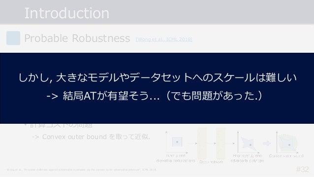 Introduction #32 Probable Robustness • 終わりが⾒えないArms Raceから抜けだしたい... -> 確実に頑健なモデルを構成するにはどうしたら良い︖ • ⼊⼒ごとにAEsによって出⼒が変化し得る領域を全...