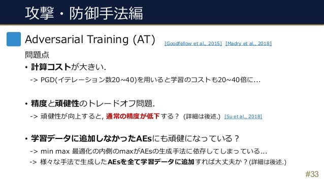 #33 Adversarial Training (AT) 問題点 • 計算コストが⼤きい. -> PGD(イテレーション数20~40)を⽤いると学習のコストも20~40倍に... • 精度と頑健性のトレードオフ問題. -> 頑健性が向上すると...