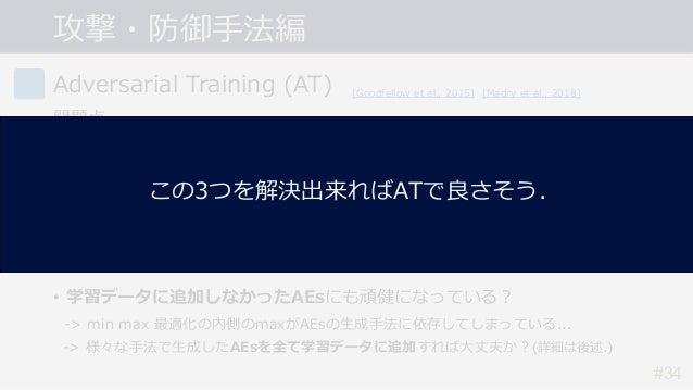 #34 Adversarial Training (AT) 問題点 • 計算コストが⼤きい. -> PGD(イテレーション数20~40)を⽤いると学習のコストも20~40倍に... • 精度と頑健性のトレードオフ問題. -> 頑健性が向上すると...
