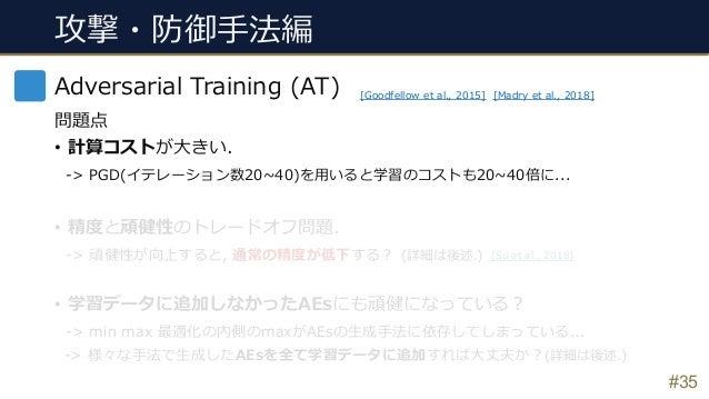 #35 Adversarial Training (AT) 問題点 • 計算コストが⼤きい. -> PGD(イテレーション数20~40)を⽤いると学習のコストも20~40倍に... • 精度と頑健性のトレードオフ問題. -> 頑健性が向上すると...