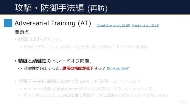 攻撃・防御⼿法編 (再訪) #52 Adversarial Training (AT) 問題点 • 計算コストが⼤きい. -> PGD(イテレーション数20~40)を⽤いると学習のコストも20~40倍に... • 精度と頑健性のトレードオフ問題...