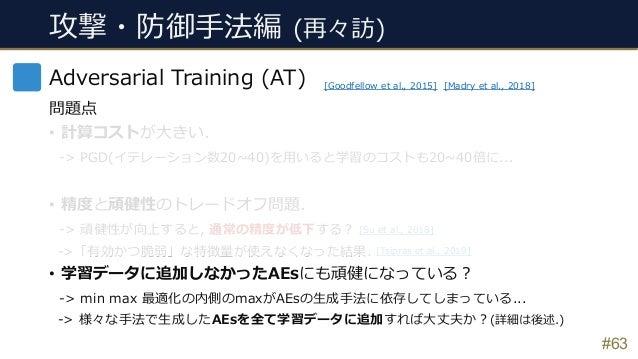 [Tsipras et al., 2019] [Su et al., 2018] 攻撃・防御⼿法編 (再々訪) #63 Adversarial Training (AT) 問題点 • 計算コストが⼤きい. -> PGD(イテレーション数20~4...