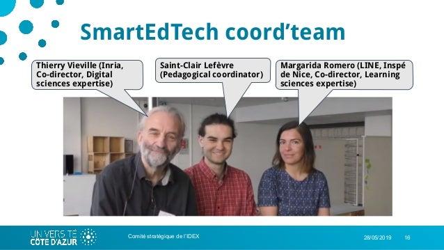 1628/05/2019Comité stratégique de l'IDEX SmartEdTech coord'team Thierry Vieville (Inria, Co-director, Digital sciences exp...