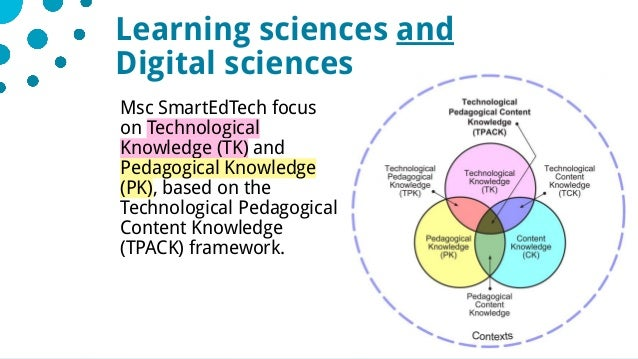 728/05/2019 Msc SmartEdTech focus on Technological Knowledge (TK) and Pedagogical Knowledge (PK), based on the Technologic...