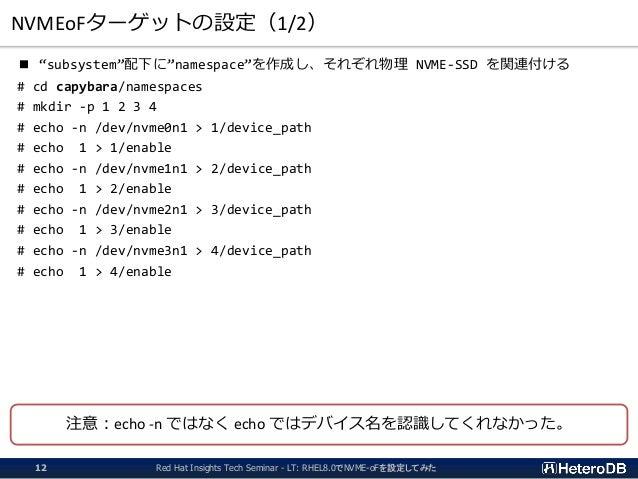 "NVMEoFターゲットの設定(1/2) ■ ""subsystem""配下に""namespace""を作成し、それぞれ物理 NVME-SSD を関連付ける # cd capybara/namespaces # mkdir -p 1 2 3 4 # e..."