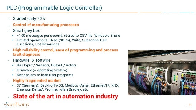 11 PLC (Programmable Logic Controller) • Started early 70's • Control of manufacturing processes • Small grey box • ~100 m...