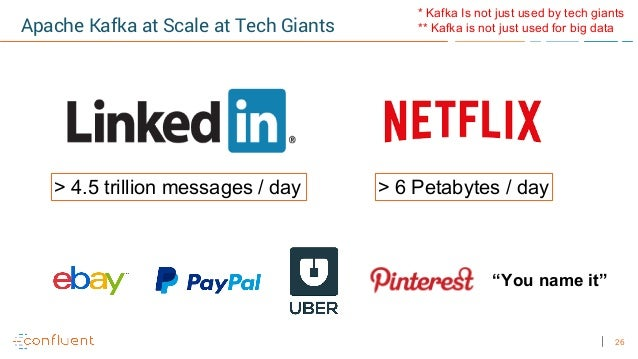 """26 Apache Kafka at Scale at Tech Giants > 4.5 trillion messages / day > 6 Petabytes / day """"You name it"""" * Kafka Is not jus..."""