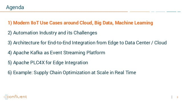 3 Agenda 1) Modern IIoT Use Cases around Cloud, Big Data, Machine Learning 2) Automation Industry and its Challenges 3) Ar...