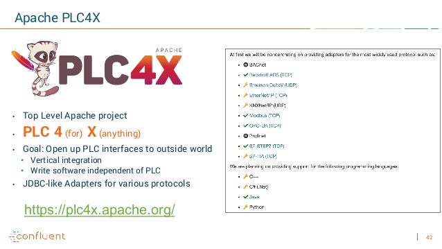 42 Apache PLC4X • Top Level Apache project • PLC 4 (for) X (anything) • Goal: Open up PLC interfaces to outside world • Ve...