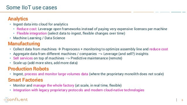 6 Some IIoT use cases Analytics • Ingest data into cloud for analytics • Reduce cost: Leverage open frameworks instead of ...
