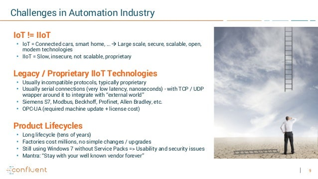 9 Challenges in Automation Industry IoT != IIoT • IoT = Connected cars, smart home, … à Large scale, secure, scalable, ope...