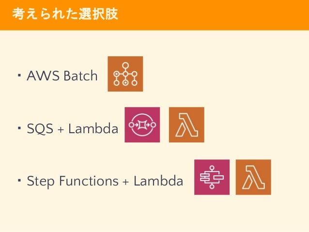考えられた選択肢 ・AWS Batch ・SQS + Lambda ・Step Functions + Lambda