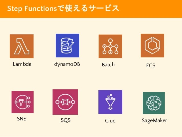 Step Functionsで使えるサービス dynamoDB SNS ECS SQS Glue Lambda Batch SageMaker