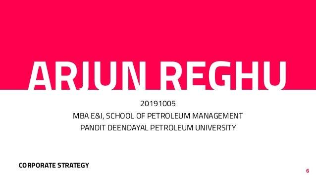 ARJUN REGHU20191005 MBA E&I, SCHOOL OF PETROLEUM MANAGEMENT PANDIT DEENDAYAL PETROLEUM UNIVERSITY 6 CORPORATE STRATEGY