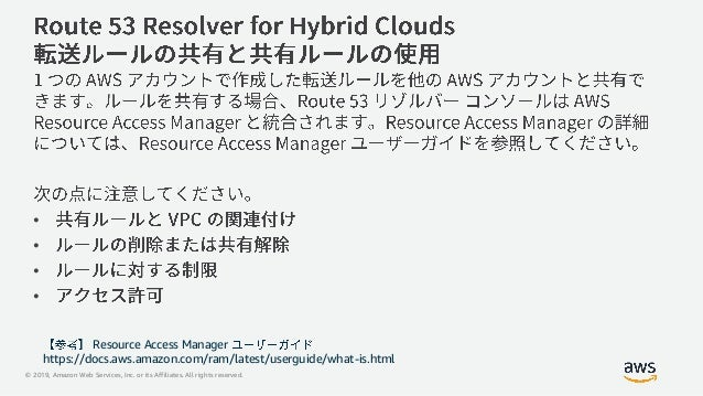 © 2019, Amazon Web Services, Inc. or its Affiliates. All rights reserved. • • • • Resource Access Manager https://docs.aws...