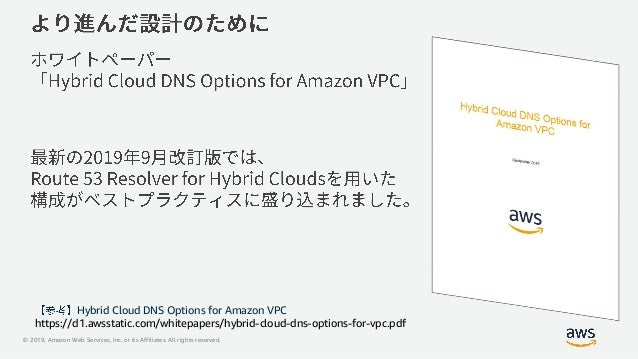 © 2019, Amazon Web Services, Inc. or its Affiliates. All rights reserved. Hybrid Cloud DNS Options for Amazon VPC https://...