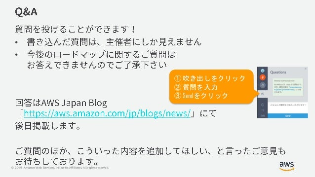 © 2019, Amazon Web Services, Inc. or its Affiliates. All rights reserved. • • ① 吹き出しをクリック ② 質問を入力 ③ Sendをクリック