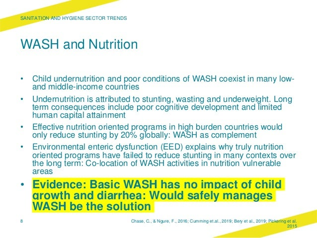 WASH and Nutrition • Child undernutrition and poor conditions of WASH coexist in many low- and middle-income countries • U...