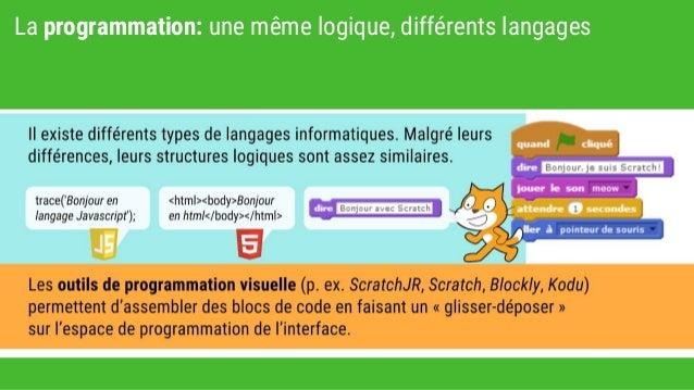 La programmation: une même logique, différents langages
