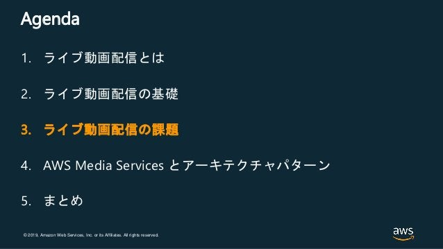 © 2019, Amazon Web Services, Inc. or its Affiliates. All rights reserved. Agenda 1. ライブ動画配信とは 2. ライブ動画配信の基礎 3. ライブ動画配信の課題 ...