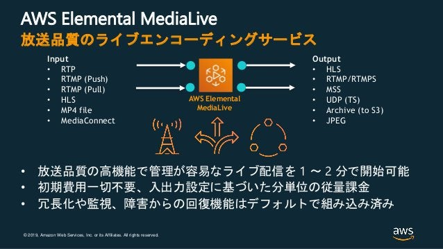 © 2019, Amazon Web Services, Inc. or its Affiliates. All rights reserved. AWS Elemental MediaLive • 放送品質の高機能で管理が容易なライブ配信を ...