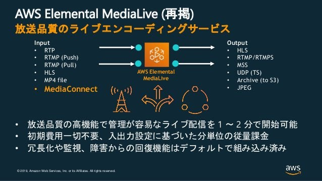 © 2019, Amazon Web Services, Inc. or its Affiliates. All rights reserved. AWS Elemental MediaLive (再掲) • 放送品質の高機能で管理が容易なライ...